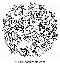 Halloween round illustration. - Monochrome Hand Drawn...