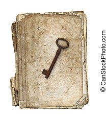 Worn and tattered book and old rusty key on a white background