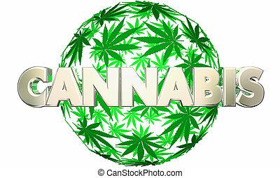 Cannabis Marijuana Leaves Sphere Pot Word 3d Illustration