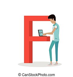 F Letter and Boy Watch Movie on Laptop. ABC Vector - F...