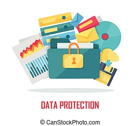 Data Protection Banner - Data protection banner. Blue folder...