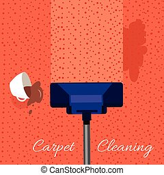 Carpet Cleaning Vector Concept In Flat Design - Carpet...