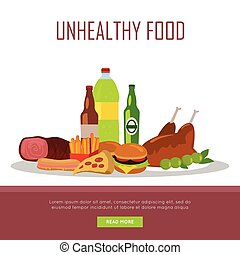 Unhealthy Food Banner Isolated on White - Unhealthy food...