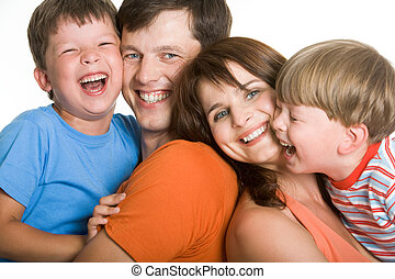 Joyful time - Portrait of laughing family members having a...