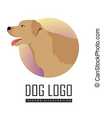 Golden Retriever Dog Logo on White Background - Golden...