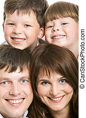 Family joy - Photo of attractive father and mother with two...