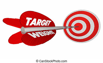 Target Weight Lose Pounds Goal Arrow Bulls Eye 3d...