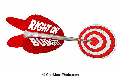 Right on Budget Finances Money Planning Arrow Target 3d Illustration