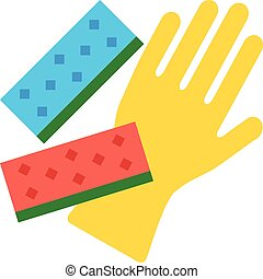 Cleaning glove and kitchen sponges - Vector cleaning glove...