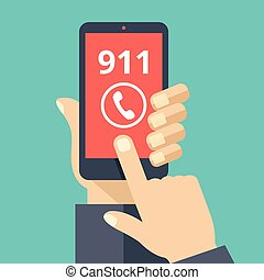 Call 911, emergency call concept. Hand holding smartphone,...