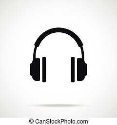 Vector headphones icon. Black sign - Vector headphones icon....