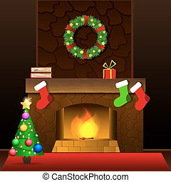 Christmas fireplace card - Christmas Card with fireplace and...