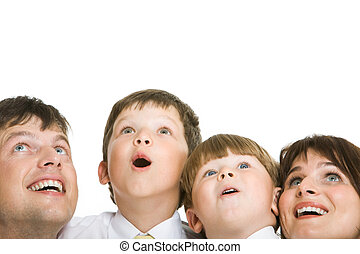 Surprise - Photo of surprised family members looking upwards...