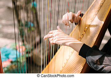 hands of the woman playing a harp. symphonic orchestra....