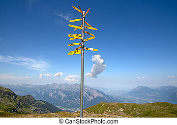 Milestone in the swiss alps, showing distances to major...