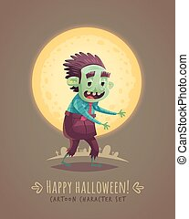 Walking zombie dead Halloween cartoon character concept...