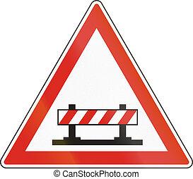 Hungarian warning road sign - Road closed
