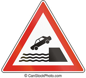 Hungarian warning road sign - Quayside or river bank