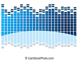 equalizer - sound  waves in blue with reflection