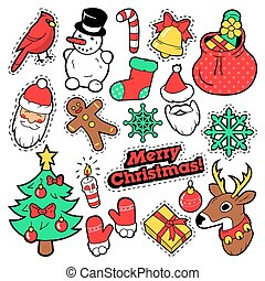 Merry Christmas Badges, Patches, Stickers - Santa Claus, Snowman, Snowflake, Christmas Tree in Pop Art Comic Style. Vector illustration