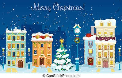 Merry Christmas Cityscape with Snowfall, Houses and...
