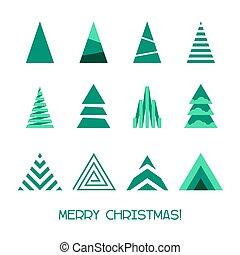 Merry Christmas Tree Collection for Winter Holidays Decoration. Vector illustration