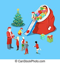 Merry Christmas Isometric Greeting Card with Christmas Tree. Santa Claus Giving Presents to the Children. Vector 3d flat illustration