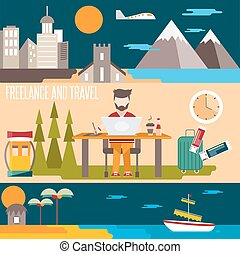 freelance and travel horizontal flat design vector banners