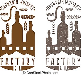 vintage vector labels set of whiskey factory