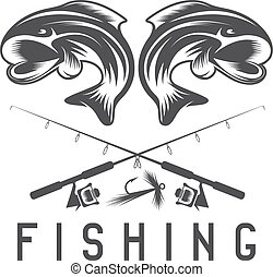 vintage fishing vector design template with abstract fish