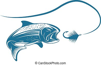 salmon fish and lure vector design template