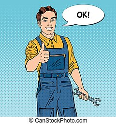 Pop Art Confident Smiling Mechanic with Wrench Thumbs Up. Vector illustration