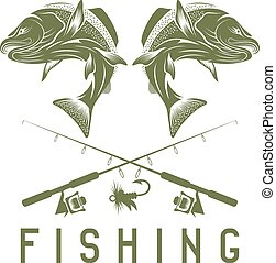 vintage fishing vector design template with salmon
