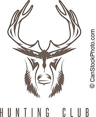 hunting vintage emblem vector design template with deer and duck
