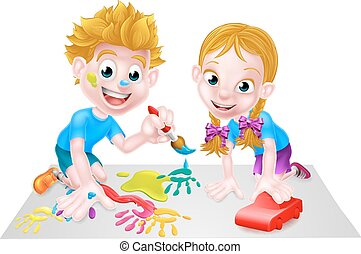 Children Playing - A cartoon boy and girl playing together...