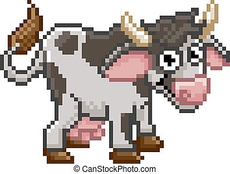 Pixel Art Cartoon Cow Farm Animal