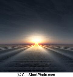 Sun on Horizon over rippled water.