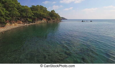 Aerial View of the Tropical Coast with Dense Forest and the Bay with the Blue Water. Sunny Day, Shot in 4K UHD