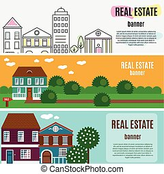 Real estate horizontal banners. House, cottage, townhouse,...