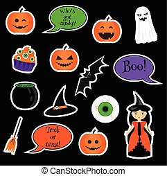 Halloween vector stickers, patches, badges. Holiday symbols...