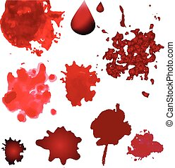 Vector blood splatters isolated on white. Design elements in various style. Red splashes