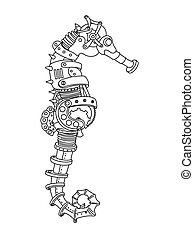 Steampunk style sea horse coloring book vector - Steampunk...