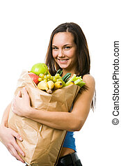 Vegetarian - Portrait of pretty girl with big paper sack...