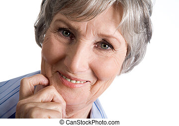 Happiness - Photo of aged female touching her chin and...