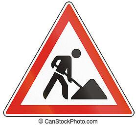 Hungarian warning road sign - road works.