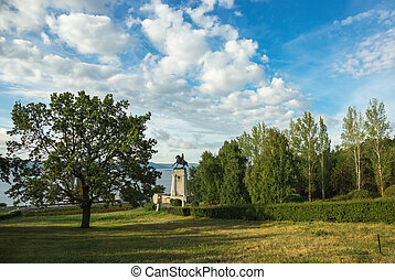 Monument of Tatishchev on the banks of the Volga river at...