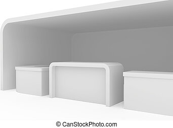 Blank exhibition stand. 3d render isolated on white...