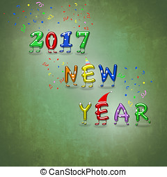 New Year 2017 animated numbers. - An illustration of happy...