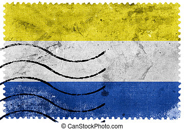 Flag of Marianske Lazne, Czechia, old postage stamp