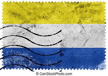 Flag of Marianske Lazne, Czechia, old postage stamp